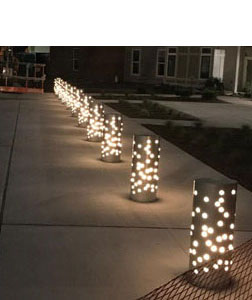 Lights on walkway in the evening