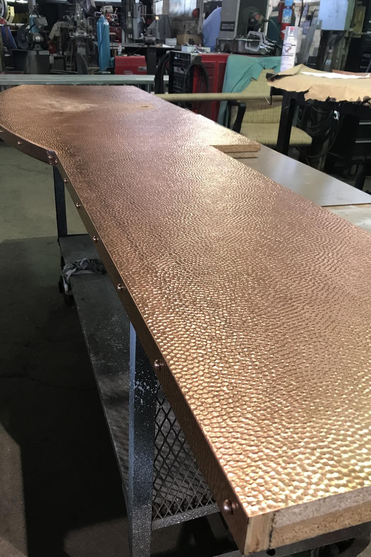 Custom Hammered Copper Vanity Top